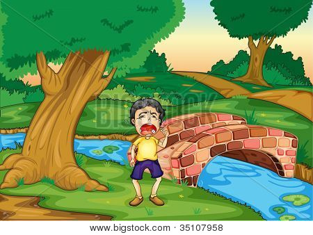 illustration of a boy crying alone in jungle
