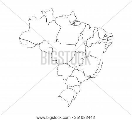 Simple Brazil Political Map Outline Vector. Perfect For Business Concepts, Backgrounds, Backdrop, Po