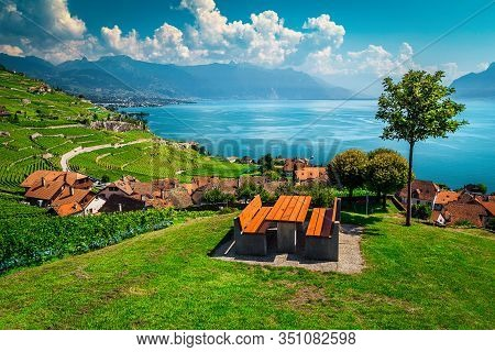 Stunning View From The Resting Place With Vineyards And Lake Geneva In Background. Table And Benches
