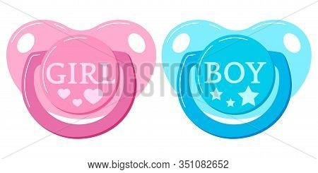 Pacifier Baby Dummy Vector Icon Set Isolated On White Background. Signs Of Newborn Pacifiers Baby Du