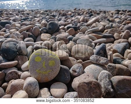 Sea Background And Pebbles. Sea Pebbles On The Beach. Natural Sea Stones Closeup. Tourism And Travel