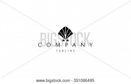 Vector Black Logo On Which An Abstract Image Of A Shell.