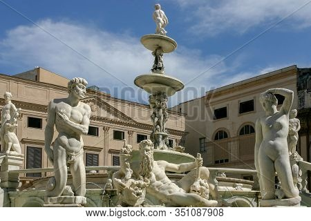 Palermo, Italy - April 02 2007: Marble Sculptures In The Piazza Pretoria, Square Of Shame, Palermo,