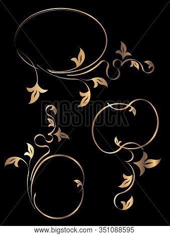 Set Of 3 Gold Oval Frames On A Black Background For Your Design