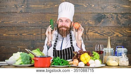 Summer Taste. Vitamin. Man Use Kitchenware. Professional Chef In Cook Uniform. Dieting With Organic