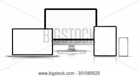 Realistic Computer, Laptop, Smartphone And Tablet With Reflection From A Smooth Surface. Mockup Gadg