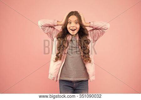 Whoa. Autumn Surprise. Surprised Kid On Pink Background. Surprised Child In Fashion Autumn Style. Sm