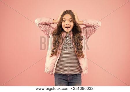 Whoa. Autumn Surprise. Surprised Kid On Pink Background. Surprised Child In Fashion Autumn Style. Sm