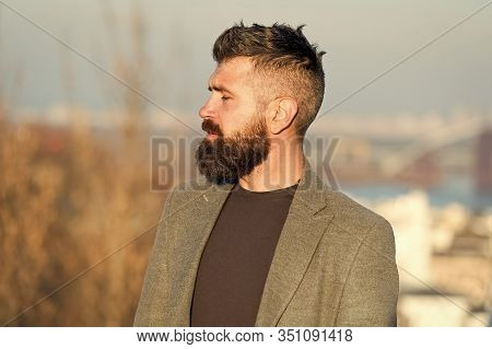 Confident Individual. Brutal Hipster. Caucasian Hipster With Thick Beard Hair. Bearded Man In Trendy