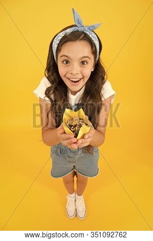 Sweet Tooth Concept. Kid Girl Hold Appetizing Muffin. Gluten Free Recipe. Delicious Cupcake. Little