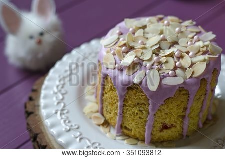 Easter Cake With Almond Petals Rabbits And Tulips