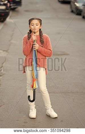 Carefree Weekend Walk. Ready For Any Weather. Girl Child Long Hair Ready Meet Fall Weather With Fold