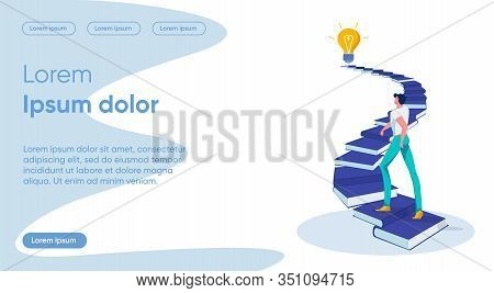 Self Development Flat Landing Page Vector Template. Movement To Idea, Learning Process And Objective