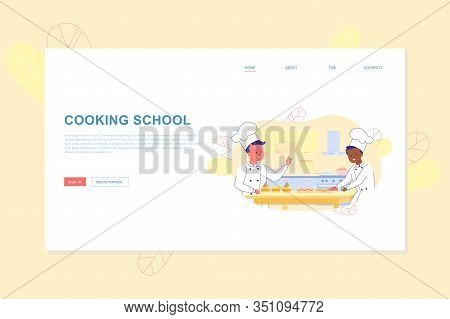 Cooking School For Children Flat Landing Page. Kids Baking Hobbies. Education And Development. Cute