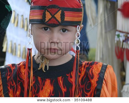 Native American Child in Costume at Pow wow