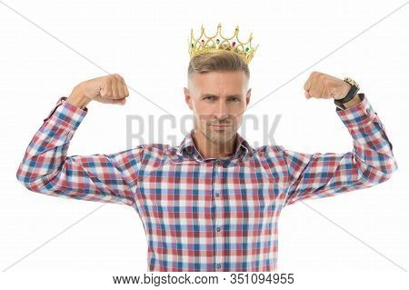 Live Bigger. Big Boss Flex Arms. Strong Man Wear Crown. Big Boss Isolated On White. Big Boss Show Po