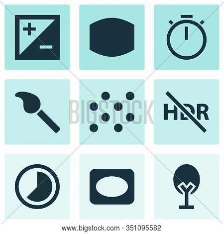 Picture Icons Set With Vignette, Exposure, Timelapse And Other Hdr Off Elements. Isolated Vector Ill