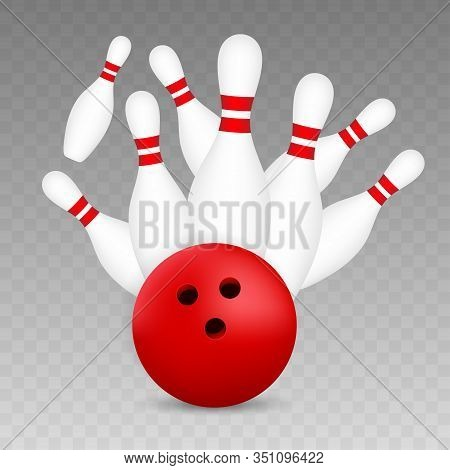 Bowling Poster. Bowling Game Leisure Concept. Vector Stock Illustration.