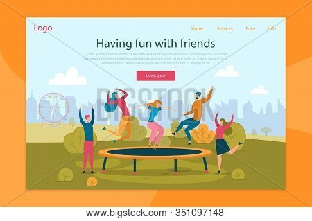 Trampoline Jumping Flat Landing Page Template. Happy People Having Fun. Best Friends Recreation In A