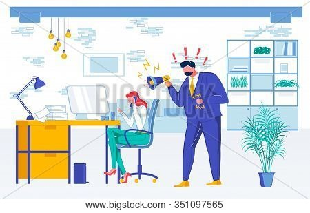 Subordinate Oppression Flat Vector Illustration. Executive With Megaphone, Shouting Chief And Subord