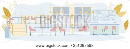 Two-storey Big Restaurant Or Cafe Interior With Bar Counter, Chairs And Dining Tables. Modern Lounge
