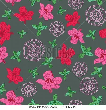 Hibiscus Lace-flowers In Bloom Seamless Repeat Pattern .hibiscus Flowers, Mint And Lace Background I