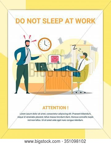 Dont Sleep At Work Flat Poster Vector Template. Angry Chief And Irresponsible Office Worker Cartoon