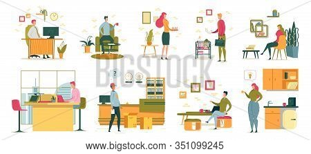 Busy People Affair At Office Workplace. Businessman Sits At Work Desk In Cabinet. Colleagues Drink O