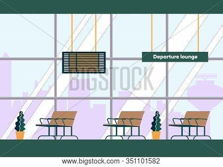 Departure Lounge Interior Inside Airport Terminal Building. Business Class Passenger Empty Waiting R