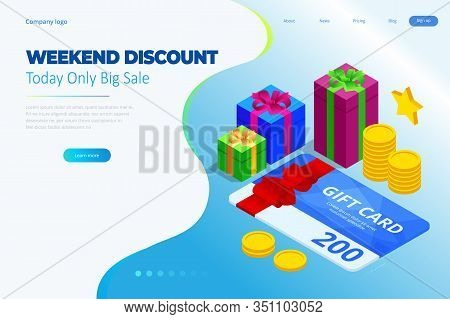 Weekend Sale And Discount Offers. Online Shopping. Seasonal Sale With Discount Coupons. Isometric Sm