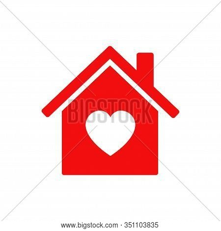 House Heart Icon Red Color. Vector Isolated Icon. Home Love Symbol. Eps 10