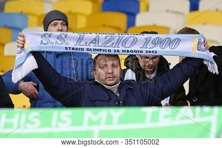 Kyiv, Ukraine - March 15, 2018: Ss Lazio Supporters Show Their Support During Uefa Europa League Rou