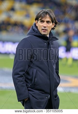 Kyiv, Ukraine - March 15, 2018: Ss Lazio Manager Simone Inzaghi Looks On During Uefa Europa League R