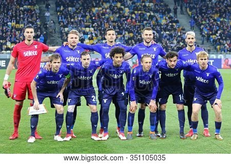 Kyiv, Ukraine - March 15, 2018: Ss Lazio Players Pose For A Group Photo Before Uefa Europa League Ro