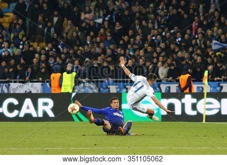 Kyiv, Ukraine - March 15, 2018: Junior Moraes Of Dynamo Kyiv (r) Fights For A Ball With Luiz Felipe
