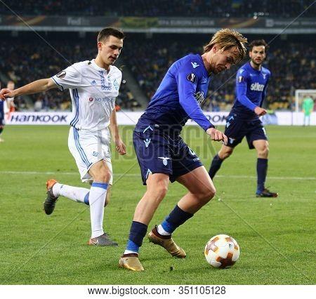 Kyiv, Ukraine - March 15, 2018: Patric Of Ss Lazio (r) Controls A Ball During Uefa Europa League Rou