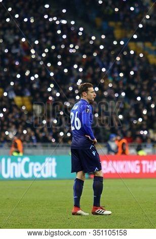 Kyiv, Ukraine - March 15, 2018: Stefan Radu Of Ss Lazio In Action During Uefa Europa League Round Of