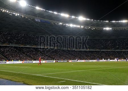 Kyiv, Ukraine - March 15, 2018: Panoramic View Of Nsk Olimpiyskyi Stadium In Kyiv During Uefa Europa