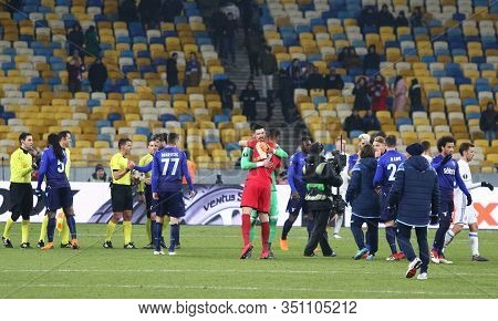 Kyiv, Ukraine - March 15, 2018: Ss Lazio Players Cheers Each Other Up After The Uefa Europa League R