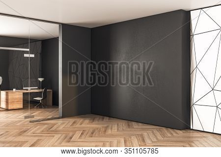Contemporary Coworking Office Interior With Equipment And Blank Black Wall. 3d Rendering