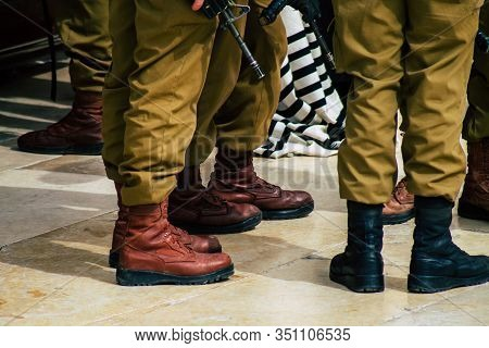Jerusalem Israel February 14, 2020 View Of Unidentified Israeli Soldiers Visiting The Western Wall,
