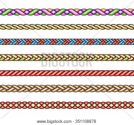Fashion Cords. Vector Textil Braids, Braiding Cord Set, Knotted Patterns For Brush Isolated On White