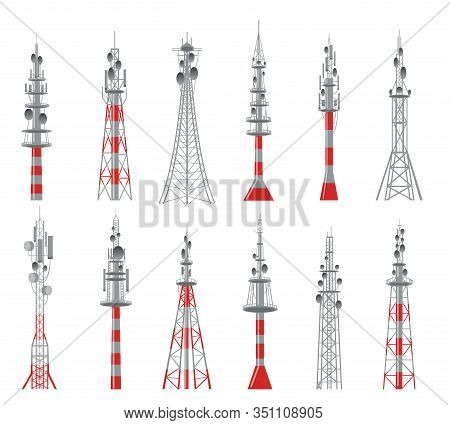 Communicating Radio Constructions. Mobil Connections Towers, Connection Cellular Buildings Vector Il