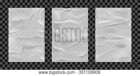 Glued Paper Sheets. Wet Papers Sheet Set, Blank Outdoor Wall Posters Mockups, Wetness Empty Advertis