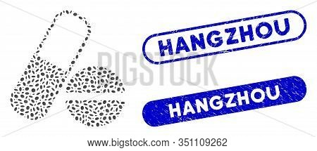 Mosaic Drugs And Rubber Stamp Seals With Hangzhou Text. Mosaic Vector Drugs Is Composed With Scatter
