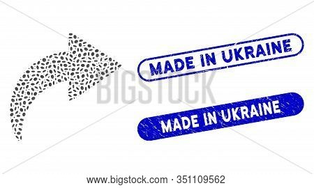Mosaic Redo And Grunge Stamp Seals With Made In Ukraine Caption. Mosaic Vector Redo Is Formed With S