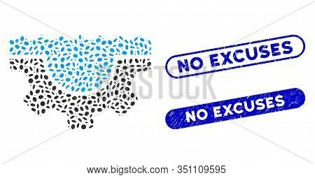 Mosaic Water Service Gear And Grunge Stamp Watermarks With No Excuses Phrase. Mosaic Vector Water Se