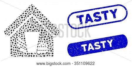 Mosaic Fastfood Cafe And Grunge Stamp Seals With Tasty Phrase. Mosaic Vector Fastfood Cafe Is Design
