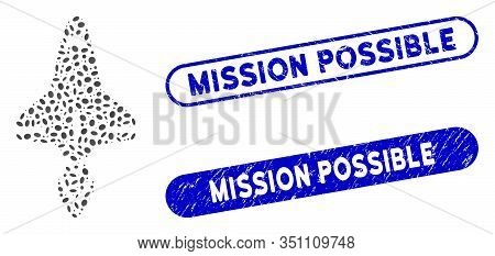 Collage Space Shuttle And Grunge Stamp Seals With Mission Possible Caption. Mosaic Vector Space Shut