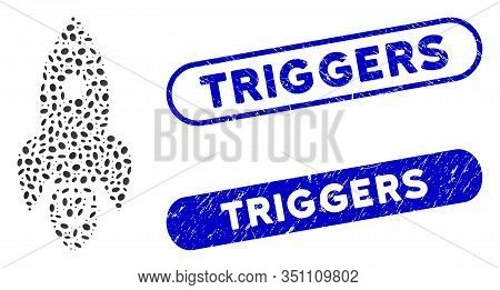 Mosaic Rocket And Distressed Stamp Seals With Triggers Caption. Mosaic Vector Rocket Is Designed Wit